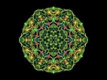 Fleur abstraite colorée multi de mandala de flamme, modèle rond ornemental sur le fond noir Thème de yoga Flamme abstraite coloré illustration stock