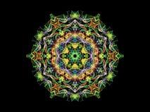 Fleur abstraite colorée multi de mandala de flamme, modèle rond ornemental sur le fond noir Thème de yoga Flamme abstraite coloré illustration de vecteur