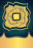 Fleur abstraite d'or de griffonnage sur le fond foncé Image stock