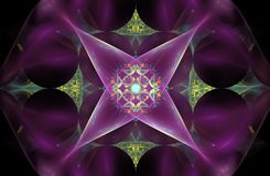 Fleur abstraite de fractale sous forme de symbole quatre-aigu sur un fond rose avec un modèle au centre Photos libres de droits