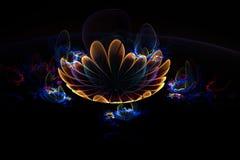 Fleur abstraite du feu du jaune 3d sur le fond noir Conception créative de fractale illustration de vecteur
