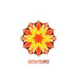 Fleur abstraite Mandala Icon de couleur de vecteur au-dessus de blanc Photo stock