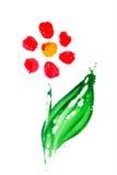 Fleur abstraite peinte à la main Photo libre de droits