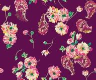 Fleur abstraite sans couture Paisley d'aquarelle avec le fond illustration libre de droits