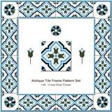 Fleur antique de bleu de croix de modèle de cadre de tuile Photographie stock