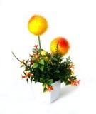 Fleur Artificiel-jaune de forme circulaire Photographie stock