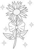 Fleur avec la page de coloration de ruban Image stock