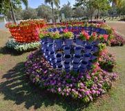 Fleur avec le pot coloré image stock