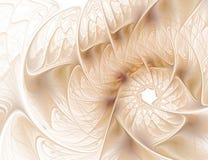 Fleur beige de fractale abstraite sur le fond blanc Photographie stock libre de droits