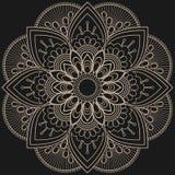 Fleur beige de mandala de Mehndi dans le style indien de henné pour le tatoo ou la carte photos stock