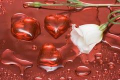 Fleur blanche avec les coeurs rouges Photo stock
