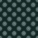 Fleur blanche de griffonnage sur le fond noir Modèle sans couture simple Papier peint tiré par la main Image libre de droits