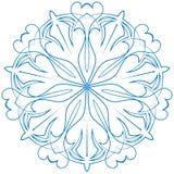 Fleur bleue de flocon de neige sur un fond blanc Photos libres de droits