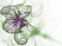 Fleur claire vert clair de fractale abstraite sur un blanc Photo stock