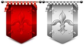Fleur coats. Heraldic coats different color with fleur symbol,  illustration Royalty Free Stock Photography