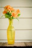 Fleur colorée dans le vase jaune transparent photos libres de droits