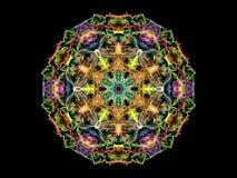 Fleur colorée multi de mandala de flamme de résumé, modèle rond ornemental sur le fond noir Thème de yoga illustration stock