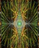 Fleur comme un oeil abstraite avec les ailes décoratives des côtés dans vert brillant, jaune, rose, bleu Photographie stock