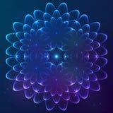 Fleur cosmique de vecteur brillant bleu Photos stock