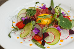 Fleur cuisine. Tartar from the beef with pickled radish, cherry tomatoes and tarragon Royalty Free Stock Photo