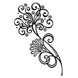 Fleur décorative avec des feuilles illustration stock