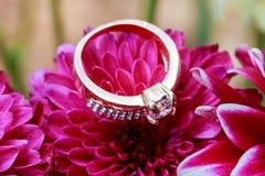 Fleur d'amour de jour de valentines de bague à diamant Photographie stock