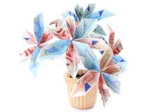 Fleur d'argent dans un pot Photos stock