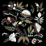 Fleur d'aspiration de main et feuille abstraites courantes, ornement de griffonnage Photos stock