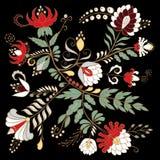 Fleur d'aspiration de main et feuille abstraites courantes, ornement de griffonnage Photos libres de droits