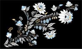 Fleur d'aspiration de main et vague abstraites courantes, bouquet de griffonnage Photographie stock