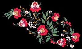 Fleur d'aspiration de main et vague abstraites courantes, bouquet de griffonnage Image libre de droits