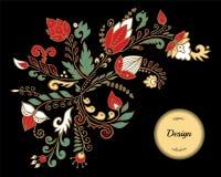 Fleur d'aspiration de main et vague abstraites courantes, bouquet de griffonnage oriental ou arabe, fond d'art de la Russie Descr Photo stock