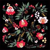 Fleur d'aspiration de main et vague abstraites courantes, bouquet de griffonnage Photos stock