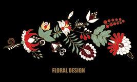 Fleur d'aspiration de main et vague abstraites courantes, bouquet de griffonnage Images stock