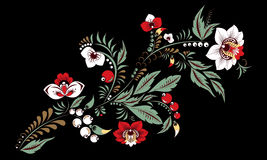 Fleur d'aspiration de main et vague abstraites courantes, bouquet de griffonnage Image stock
