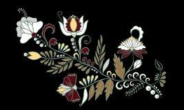 Fleur d'aspiration de main et vague abstraites courantes, bouquet de griffonnage Photo libre de droits