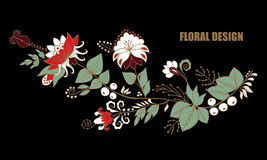 Fleur d'aspiration de main et vague abstraites courantes, bouquet de griffonnage Photographie stock libre de droits