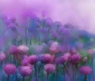 Fleur d'oignon pourpre fleuve de peinture à l'huile d'horizontal de forêt Image stock