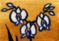 Fleur d'orchidée de conte de fées de peinture à l'huile Photo stock