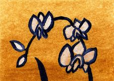 Fleur d'orchidée de conte de fées de peinture à l'huile Photographie stock