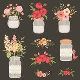 Fleur dans des pots de maçon Photographie stock libre de droits
