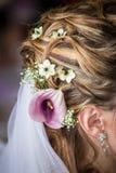 Fleur dans la jeune mariée de cheveux Photo libre de droits