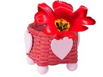 Fleur dans le panier Photos stock