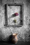 Fleur dans un cadre de tableau noir et blanc, Photographie stock libre de droits