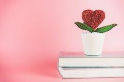 Fleur de coeur d'amour sur des livres Images stock