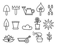Fleur de collection d'icône d'ensemble et illustration de jardinage Images libres de droits