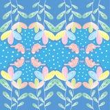 Fleur de Colorfull avec le papillon et le polkadot Photo stock