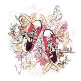 Fleur de croquis de chaussures en caoutchouc Photos libres de droits