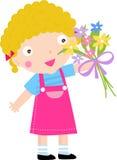 Fleur de fixation de fille Image libre de droits