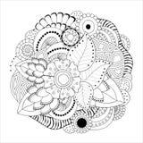 Fleur de griffonnage et modèle de vague monochromes abstraits courants Images stock